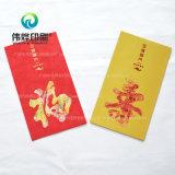 Impresión con papel rojo con dinero como un regalo para el mejor deseo