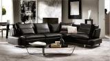 Кресло комнаты самомоднейшей черной кожаный секционной угловойой софы живущий