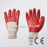 Перчатка красного запястья руки Knit PVC химически (5110)