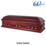 Ларец и гроб твердой древесины оптового бархата Китая тополя нутряной похоронный