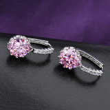 人工的な宝石類のピンクの立方ジルコニアのクリップ式イヤリング