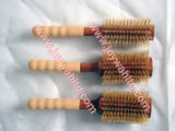 Brosse à cheveux ronde de poils de sanglier