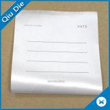 Cartão de instrução feito sob encomenda para a etiqueta do vestuário