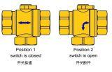 Vávula de bola motorizada motorizada eléctrica de cobre amarillo niquelada de 3 maneras de Dn15 el 1/2 ''