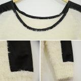 Mulheres Patch Ombro Couro Suéter Hem assimétrica