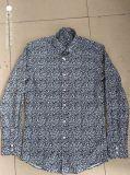 100%COTON tissé d'impression de chemises à manches longues pour les hommes