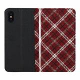 Красный провод фиолетового цвета Gingham кожаный чехол для мобильного телефона для бумажника Iphonex