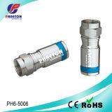 Conetores do RF da compressão RG6 para o cabo coaxial