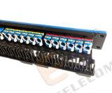 1u 24 as portas UTP RJ45 colorido CAT6 levantam o painel de correção de programa da rede para a cremalheira dos dados
