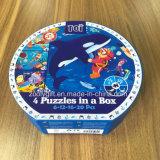 4 Puzzles dans une boîte de papier recyclé en forme de boîte de dialogue de l'aggloméré Puzzles avec serrure et de la poignée