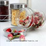 Envase de cristal del almacenaje redondo del alimento con la tapa de plata