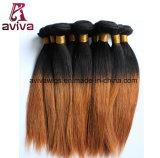 Prolonge normale de cheveux humains de Vierge d'Ombre de cheveu droit soyeux de la Vierge #1b/30