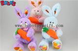 부활절 기술은 아이 Bos1160를 위한 당근을%s 가진 분홍색 견면 벨벳 토끼 동물성 장난감을 꼭 껴안는다
