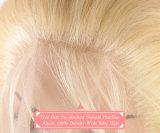 Perruque de lacet attachée pleine par main de frange de dessus de peau de cheveux humains