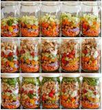 De snijdende Flessen van het Glas van de Kruiken van het Glas voor Groenten van het Fruit van de Jam van de Honing van de Verpakking de Salade Ingeblikte