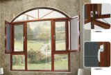 Ventana de aluminio revestida de madera del marco del nuevo diseño con la tapa arqueada