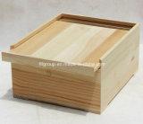 Embalagem de vinhos de madeira de pinho de Paulownia personalizados com diferentes acabamentos