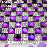 перехода сердца Rhinestones 8mm утюг Fix стеклянного ясного горячий дальше крепил на клею лист сетки кольцевания (amethyst TM-24*40cm)