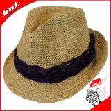 Chapéu do Fedora da palha do Raffia, chapéu da mulher