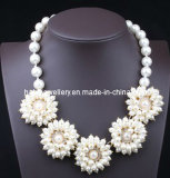 Style Shourouk Pearl Flower Fashion Necklace/Mode bijoux (XJW13100)