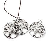 適合DIYのネックレスの魅力を作る丸型の木のペンダントの宝石類