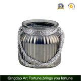 Jute Handle Jarro de vidro de mercúrio / vaso para decoração de casa