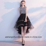 Schwarze hohe niedrige Sequined Perlen mit Rhinestones-Abschlussball-Kleid