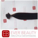 Выдвижения человеческих волос Remy конца бразильского кератина Pre-Bonded плоские
