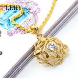 Gold-Tone 다이아몬드 로즈 펀던트 목걸이 & 귀걸이 합금 형식 보석 세트
