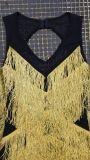金光沢があるフリンジが付いている短い袖なしの網の包帯の服