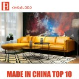 Il sofà di cuoio sezionale d'angolo moderno di colore giallo della Danimarca ha impostato per il salone