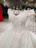Blanc une ligne robe de mariage marginale en cristal de Soild de lacet