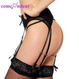 Низкая MOQ на складе женщин Sexy оптовые цены на черный плюс размер G-String Suspenders