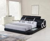 Moda italiana Mobiliário Quarto cama em pele de LED