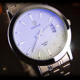 Z296ステンレス鋼の背部腕時計の標準的な水晶カレンダの人の腕時計