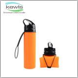 600ml BPA liberano la bottiglia di acqua pieghevole flessibile dell'azzurro del silicone
