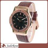 Reloj del acero inoxidable, reloj del cuarzo de los hombres de encargo, reloj de la correa de cuero