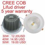 40W CREE COB la lámpara de techo LED Downlight LED incorporado