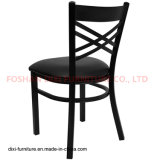 Présidence de restaurant en métal de dos de croix de noir de meubles de restaurant avec la portée noire de vinyle