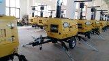 携帯用LEDの軽いタワーの油圧望遠鏡の縦の手段のトラックによって取付けられる移動式照明タワー8.5mの動産の照明プラント発電機のトレーラー