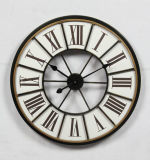 Reloj de pared antiguo redondo casero del metal blanco de Decoraive