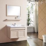 Nuevos cabina reflejada del cuarto de baño de los colores de la llegada diversos muebles con el estante