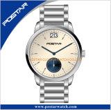 Montre-bracelet appliquée de Subdial d'index calendrier beige de cadran d'Elegence de grand