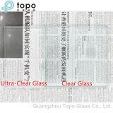 Verre à vitres plat de flotteur architectural inférieur ultra clair de fer de Wholese 19mm (UC-TP)