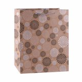 형식 까만 꽃 패턴 Kraft 선물 종이 봉지