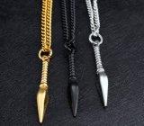 Chaîne de tige punke de bijou d'hommes de colliers de pendants de couleur d'or d'argent de noir d'acier inoxydable d'hommes de collier du collier 57cm de fer de lance longue