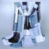 Écharpe estampée par Geometic Chiffon bon marché en gros de soie artificielle (HQ08)