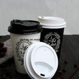 Tazza di caffè di carta a parete semplice bevente calda a gettare di marchio su ordinazione
