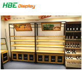 Supermarché des présentoirs en bois pour les fruits et légumes
