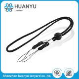 Acollador de nylon redondo tejido OEM del USB de la correa del cuello del negro de la cuerda